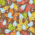 Seamless brown pattern with cute raindrops Stock Photo