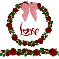 Seamless brush and wreath of red roses with the lettering