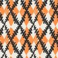 Seamless brushpen doodle pattern grunge texture.Trendy modern in