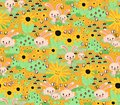 Seamless bunny background for kids. Bunnies carrots sunflowers garden orange seamless pattern. Cute Springtime rabbit pattern.