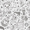 Seamless business pattern cartoon vector illustration Royalty Free Stock Images