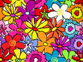 Seamless busy flower pattern fun retro hand drawn Stock Images