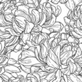Seamless bw pattern with chrysanthemum Stock Photography