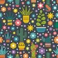 Seamless Cactus Pattern Royalty Free Stock Photo