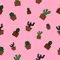 Seamless cactus pattern.