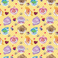 Seamless cake pattern Stock Images