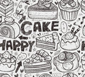 Seamless cake pattern cartoon vector illustration Royalty Free Stock Image