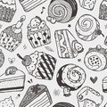 Seamless cake pattern cartoon vector illustration Stock Photo
