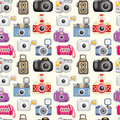 Seamless camera pattern Stock Photos