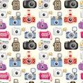 Seamless camera pattern Royalty Free Stock Photo
