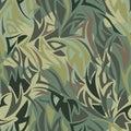 Seamless camouflage pattern. Khaki texture, vector illustration