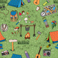 Seamless Camping Background Ve...
