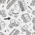 Seamless car pattern cartoon vector illustration Royalty Free Stock Photo