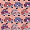 Seamless car pattern. Sketch. Pink, lilac, purple.
