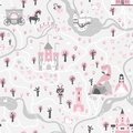Seamless card pattern with prince and princess, unicorns and fairies, ship, river, castles, towers, dragon cave, carriage.