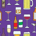 Seamless Cartoon Alcoholic Beverage Pattern Stock Photo