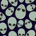 Seamless Cartoon Alien Head Pattern Stock Photo