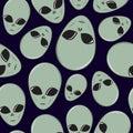 Seamless Cartoon Alien Head Pattern
