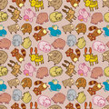 Seamless cartoon animal pattern Royalty Free Stock Images