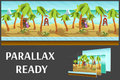 Seamless cartoon beach landscape, vector unending background with separated layers. Royalty Free Stock Photo