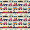 Seamless cartoon car pattern Stock Photos