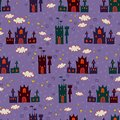 Seamless with cartoon castle pattern halloween bright background Stock Photo