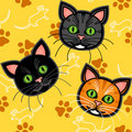 Seamless cartoon cat pattern over yellow Royalty Free Stock Photo