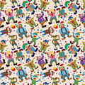 Seamless cartoon circus clown pattern Stock Photo