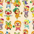 Seamless cartoon circus clown pattern Stock Image
