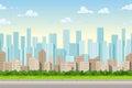 Seamless cartoon city background