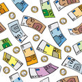 Seamless cartoon euros a pattern of euro bills and coins Stock Photography