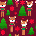Seamless cartoon fox with flowers and trees illustration background pattern Stock Photography