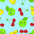 Seamless cartoon fruit background Stock Photos