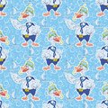 Seamless cartoon goose divers background and blue pattern with a ship Royalty Free Stock Photography