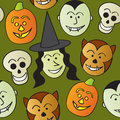 Seamless Cartoon Halloween Characters Royalty Free Stock Images