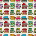 Seamless cartoon house/shop pattern Royalty Free Stock Photo