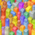 Seamless cartoon isometric city background illustration of a funny squared big with several buildings Royalty Free Stock Image