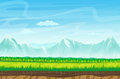 Seamless cartoon landscape with rocks, mountains and grass. Landscape for game.
