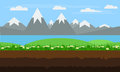 Seamless cartoon nature landscape, flat game background vector.