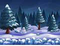 Seamless cartoon nature winter landscape, vector unending background with separated layers.