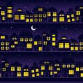 Night city. Evening seamless landscape - houses in town, background