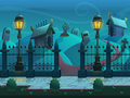 Seamless cartoon night landscape, with graves and crypts, vector unending background with separated layers.