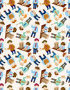 Seamless cartoon office worker pattern Stock Photo