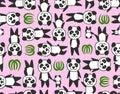 Seamless cartoon panda pattern