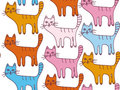 Seamless cartoon pattern with cats Royalty Free Stock Image