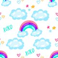 Seamless cartoon pattern with cute rainbow, stars, clouds. Creative texture for fabric, wrapping, textile, wallpaper