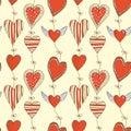 Seamless cartoon romantic pattern with hearts