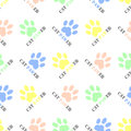 Seamless cat themed animal pattern vector background design with colorful cat paws prints and wordplay cat pawer converted