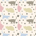 Seamless cats pattern stylish colorful background vector illustration Royalty Free Stock Photos