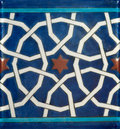 Seamless ceramic floor tile photo of a it has vivid colors and ottoman or eastern figures on it Royalty Free Stock Photos